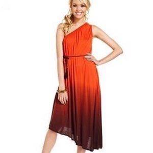 Ombré One Shoulder Boho Asymmetrical Dress XS